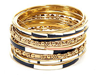 Set of 14 Gold Accented Black/Ivory Bangle Bracelets. pob-04809.