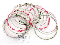 Set of 15 Pink/Silver Accented Bangles Bracelet. pob-04822.