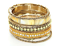 Set of 9 Gold Bangle Bracelets. pob-04867.
