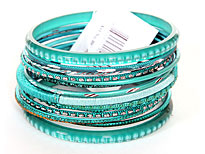 Set of 15 Turquoise Colored Bangle Bracelets. pob-04997.