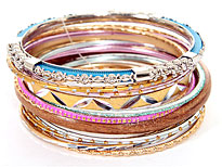 Set of 13 Assorted Handmade Bangles. POB-05065.