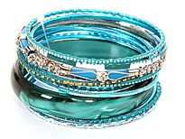 Set of 12 Turquoise Colored Bangle Bracelets. pob-05066.