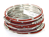 Set of 12 Brown/Silver Colored Bangle . pob-05178.