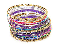 Set of 11 Purple/Gold Bangles Bracelets. pob-1880.