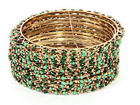 Set of 12 Piece Green Colors Bangle Bracelets. pob-1886.