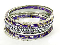 Set of 7 Purple/Silver Bangles Bracelets