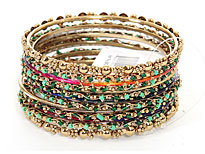 Set of 13 Multi Colored Bangle Bracelets. POB-1893.