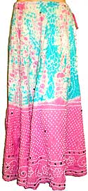 Tie & Dye Long Sequined Skirt with Drawstring. s12013-5.