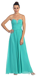 Strapless Beaded & Pleated Long Formal Bridesmaid Dress