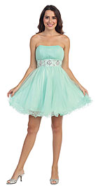 Strapless Short Party Dress with Pleating & Rhinestones