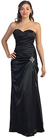 Strapless Pleated Long Bridesmaid Dress with Brooch Accent