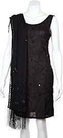 Black Sequin Beaded Shawl with Hanging Beads. sc106.