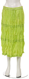 Knee Length Crinkled Lime Green Skirt. skt-b5.