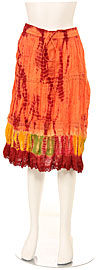 Tie & Dye Crinkled Orange Skirt. skt-c1.