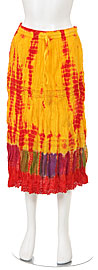 Tie & Dye Crinkled Yellow Multi Skirt. skt-c3.